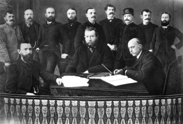 Calgary's first town council is pictured here in 1886. Significantly more men than women have sat on council in Calgary's history. (Glenbow Archives NA-644-30 - image credit)
