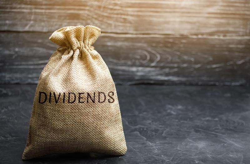 "A bag with ""DIVIDENDS"" written on it."