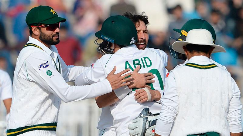 Seen here, members of the Pakistan Test team celebrate during a match.