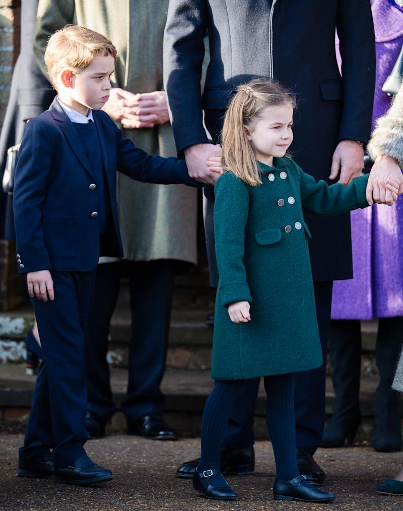 A photo of Prince George of Cambridge and Princess Charlotte of Cambridge at the Christmas Day Church service at Church of St Mary Magdalene on the Sandringham estate on December 25, 2019 in King's Lynn, United Kingdom.