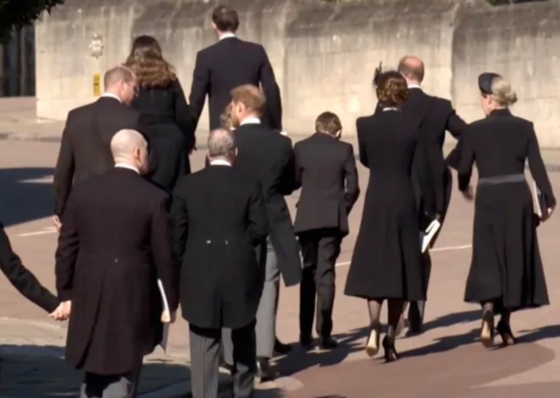 Harry and William talking at Prince Philip's funeral