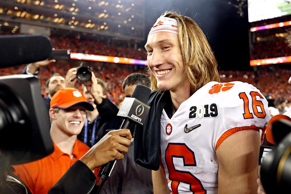 Clemson Tigers quarterback Trevor Lawrence (16) celebrates after beating the Alabama Crimson Tide to win the College Football Playoff title. (USA Today)