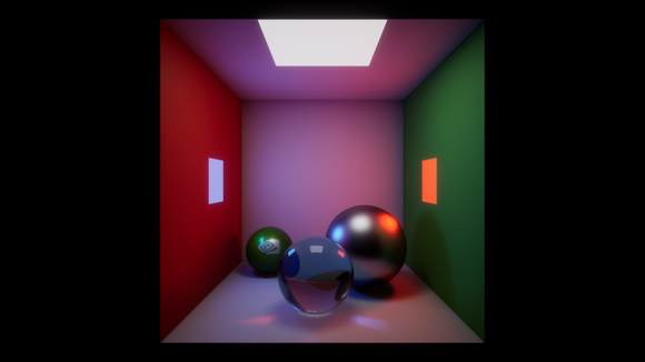 A rendering of metal and glass balls inside a multicolored box with various light sources, demonstrating NVIDIA's ray-tracing technology