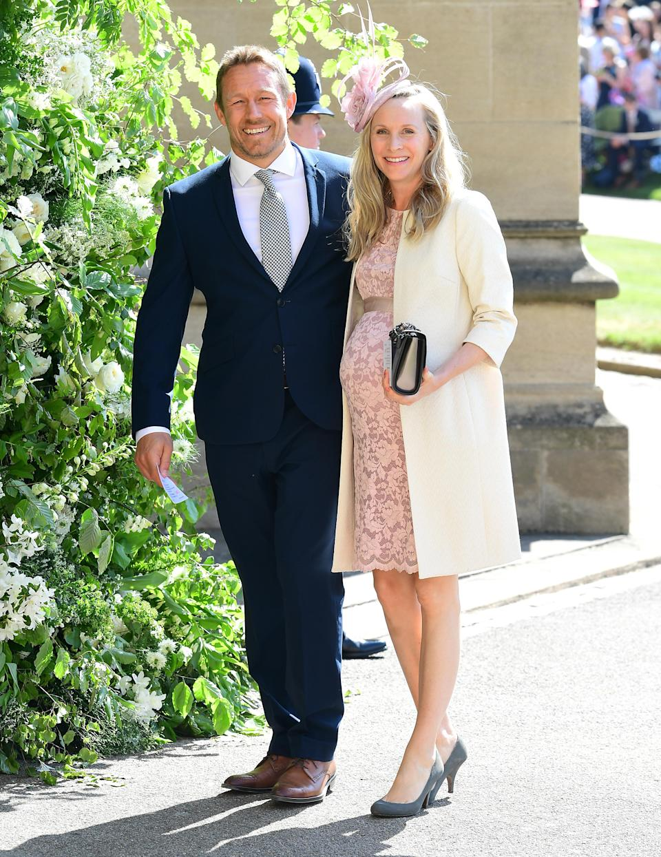 Jonny Wilkinson and Shelley Jenkins arrive at St George's Chapel at Windsor Castle for the wedding of Meghan Markle and Prince Harry (Picture: PA)