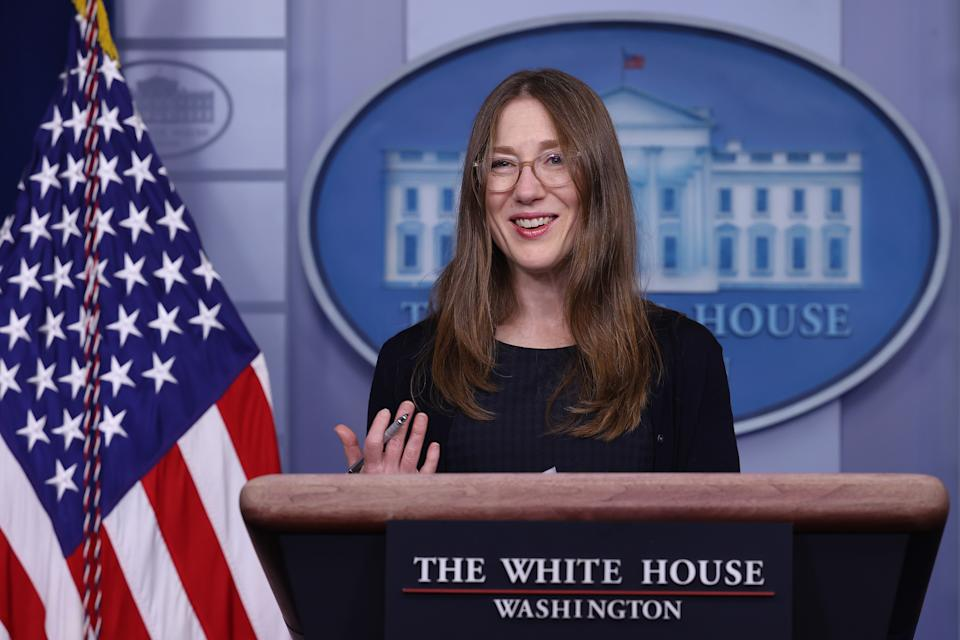 WASHINGTON, DC - MARCH 24: Council of Economic Advisers member Heather Bousey talks with reporters in the Brady Press Briefing Room at the White House on March 24, 2021 in Washington, DC. To mark Equal Pay Day, Boushey and council Chair Cecilia Rouse  highlighted the Biden Administration's efforts toward pay equity between women and men. (Photo by Chip Somodevilla/Getty Images)