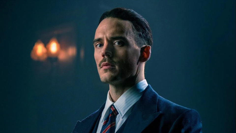 Sam Claflin as Oswald Mosley in 'Peaky Blinders'. (Credit: BBC)