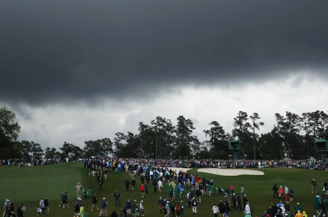 Stormy skies loom over the course during third round play of the 2018 Masters golf tournament at the Augusta National Golf Club in Augusta, Georgia, U.S. April 7, 2018. REUTERS/Mike Segar