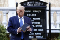 President Donald Trump holds a Bible as he visits outside St. John's Church across Lafayette Park from the White House Monday, June 1, 2020, in Washington. Part of the church was set on fire during protests on Sunday night. (AP Photo/Patrick Semansky)