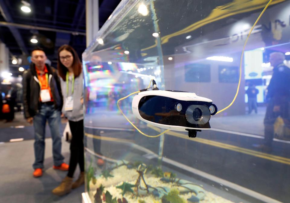 A Navatics Mito underwater drone, able to dive to 40 meters and live stream video to a smartphone, is shown in a tank during the 2019 CES in Las Vegas, Nevada, U.S. January 9, 2019. REUTERS/Steve Marcus