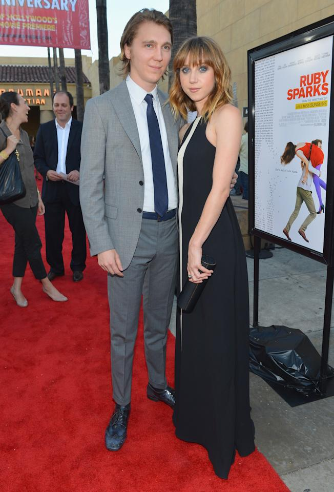 """HOLLYWOOD, CA - JULY 19:  Actor Paul Dano and writer/actress Zoe Kazan arrives to the premiere of Fox Searchlight's """"Ruby Sparks"""" at the Egyptian Theatre on July 19, 2012 in Hollywood, California.  (Photo by Alberto E. Rodriguez/Getty Images)"""