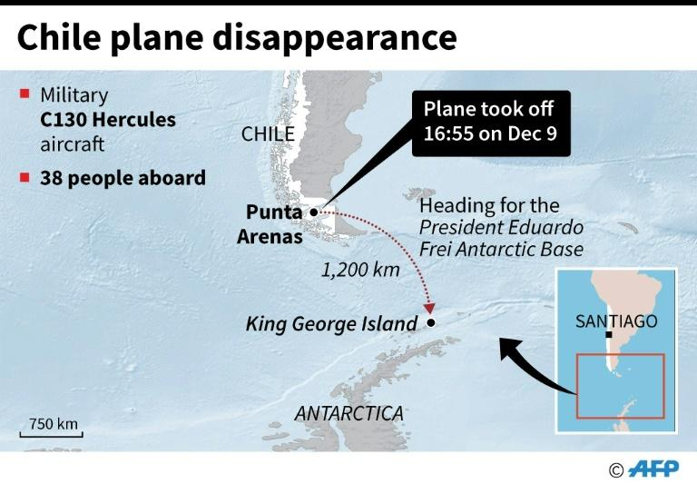 Map showing the route of an Antarctica-bound Chilean Air Force military plane which disappeared on Monday after taking off from the southern city of Punta Arenas. (AFP Photo/Janis LATVELS)