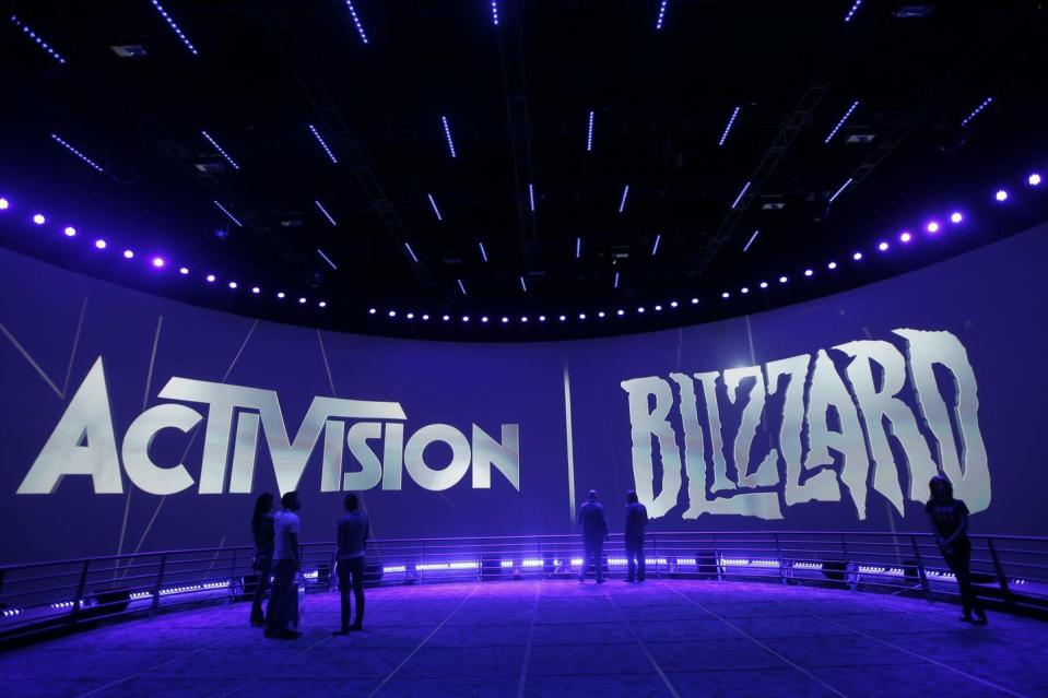 """<span class=""""caption"""">The Activision Blizzard Booth is seen during the Electronic Entertainment Expo in Los Angeles. </span> <span class=""""attribution""""><span class=""""source"""">(AP Photo/Jae C. Hong)</span></span>"""