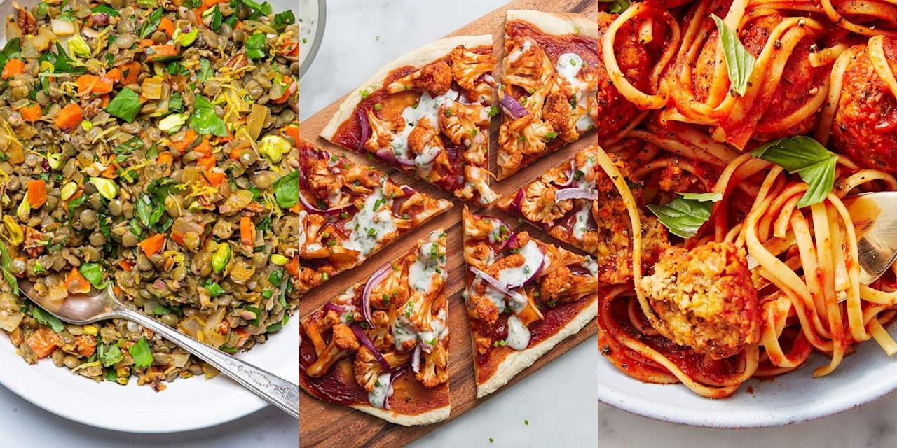 "<p>Meat-free eating doesn't have to mean bland and boring meals. You can enjoy recipes that are just as delicious (if not more!), and pretty much the same in terms of food prep. Whether you fancy coming home to a tasty <a href=""https://www.delish.com/uk/cooking/recipes/a33542385/lentil-salad-recipe/"" target=""_blank"">Lentil Salad</a> for tea, or a <a href=""https://www.delish.com/uk/cooking/recipes/a31093320/jackfruit-burger/"" target=""_blank"">Vegan Pulled Jackfruit Burger</a>, you'll be surprised as to how much flavour is in all these delightfully easy vegan recipes. </p>"
