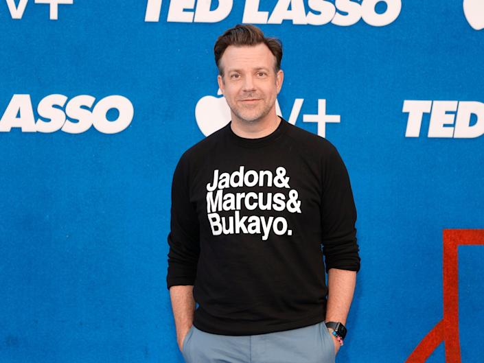Jason Sudeikis poses at the premiere of Ted Lasso's second season