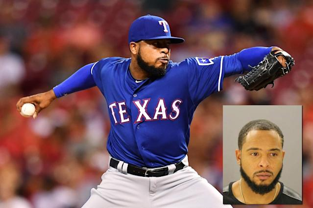 Texas Rangers pitcher Jeremy Jeffress on the mound and in his mugshot. (Getty Images/WFAA)