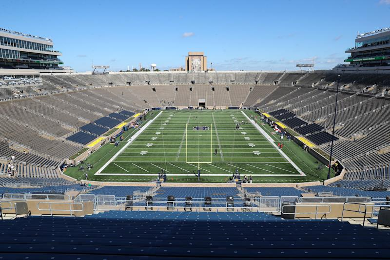 SOUTH BEND, IN - SEPTEMBER 14: A general view of Notre Dame Staduim prior to the college football game between the New Mexico Lobos and the Notre Dame Fighting Irish on September 14, 2019, at Notre Dame Stadium in South Bend, IN.(Photo by Frank Jansky/Icon Sportswire via Getty Images)
