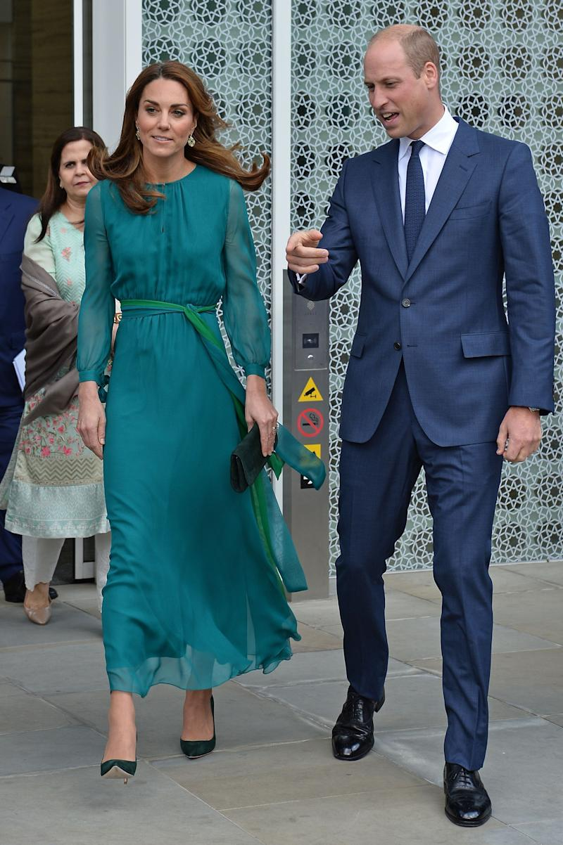 Here, she's wearing aARoss Girl x Soler maxi dress for a visit to the Aga Khan Centre in London.