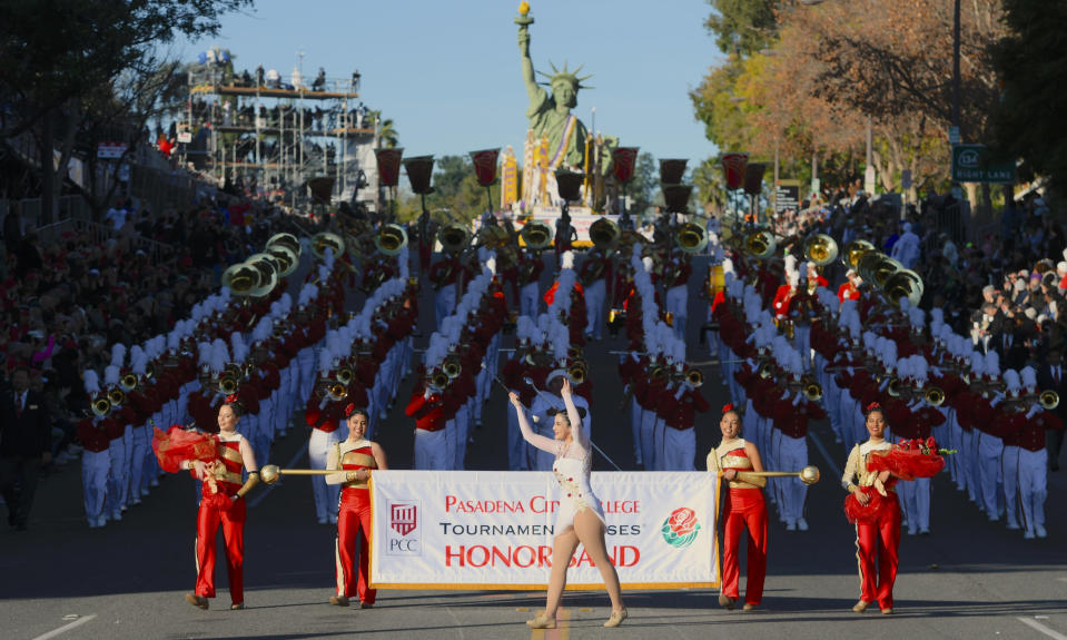 FILE - In this Jan. 1, 2020, file photo, The Pasadena City College marching band performs at the 131st Rose Parade in Pasadena, Calif. Organizers said Wednesday, July 15, 2020 they have canceled the 2021 Rose Parade because of the impact of the coronavirus pandemic on long-range planning for the New Year's Day tradition and the risk of spreading infections among its huge audience. (AP Photo/Michael Owen Baker, File)