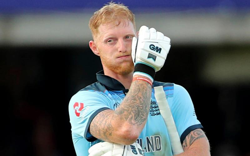 England's Ben Stokes reacts at the end of their innings - AP
