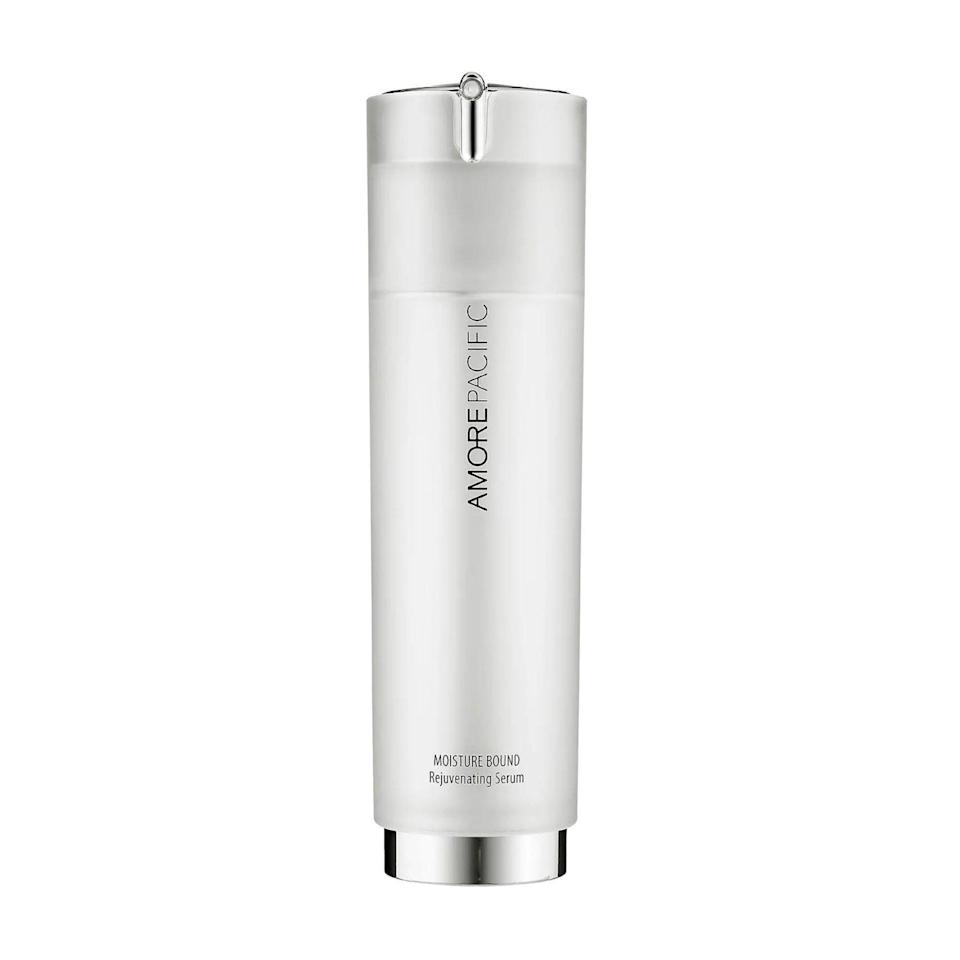 For his patients with sensitive skin, Howe recommends Amorepacific's Moisture Bound Rejuvenating Serum, which disappears into skin and contains bamboo leaf extract, cactus fruit, green tea, wild soybean, and water lily to boost cell regeneration and minimize fine lines without causing irritation.