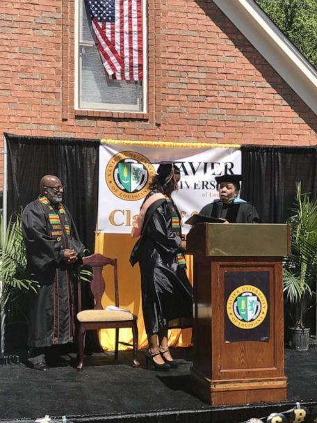 PHOTO: Gabrielle Pierce on stage with Rev. Eric J. Knowles and her aunt, Dr. Deborah Smith. (Gabrielle Pierce)