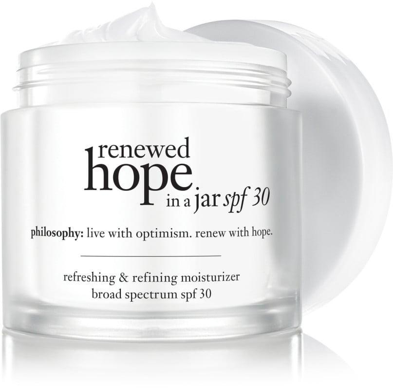 <p>The <span>Philosophy Renewed Hope in a Jar SPF 30</span> ($39) helps to retexturize and smooth skin with its deeply hydrating formula.</p>