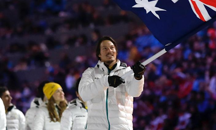 Alex Pullin was the flag bearer for Australia at the 2014 Sochi Games. (AP Photo/Patrick Semansky)