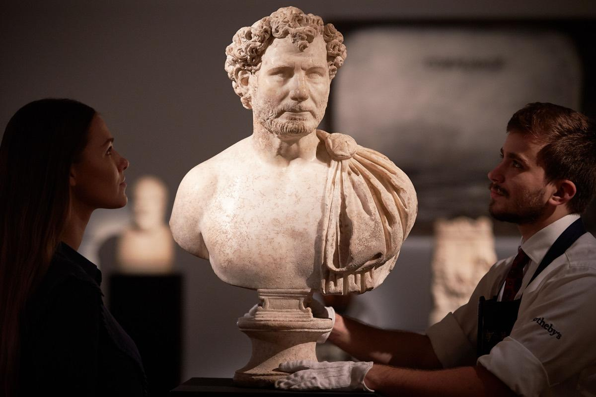 This 1,800-year-old statue of a Roman military officer sold at auction at Sotheby's.