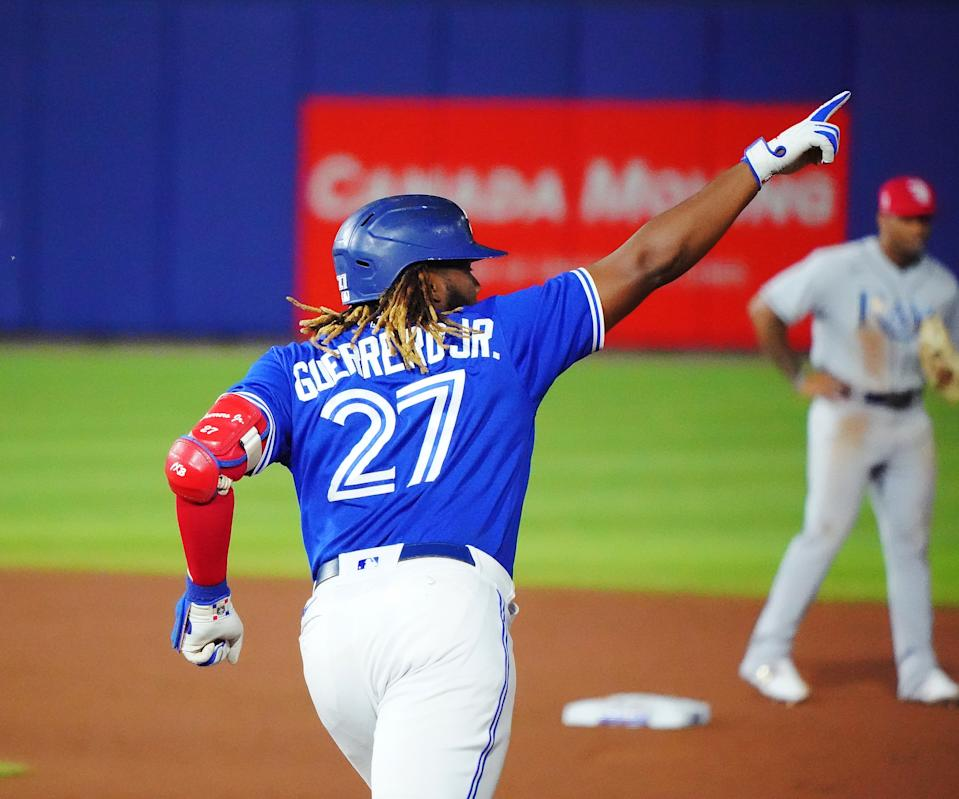 Vladimir Guerrero Jr.。(Photo by Kevin Hoffman/Getty Images)