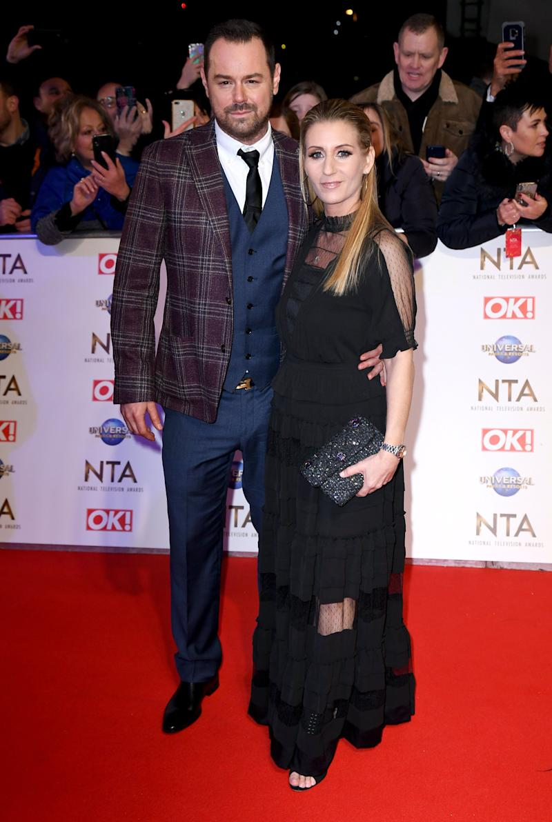 Danny Dyer and Joanne Mas attending the National Television Awards 2020 held at the O2 Arena, London. Photo credit should read: Doug Peters/EMPICS