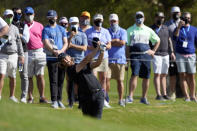 Tommy Fleetwood, of England, hits from the No. 2 fairway during a third round match at the Dell Technologies Match Play Championship golf tournament Friday, March 26, 2021, in Austin, Texas. (AP Photo/David J. Phillip)