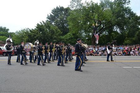 The District of Columbia National Guard 257th Army Band marches in the Independence Day Parade along Constitution Avenue in Washington, DC, U.S., July 4, 2017. Picture taken July 4, 2017. Gigail Cureton/DC National Guard/Handout via REUTERS