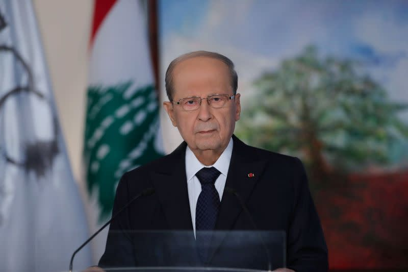 Lebanese President Aoun delivers televised address to the public on eve of Lebanon's centenary at the presidential palace in Baabda