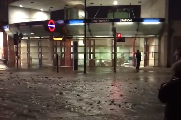 A burst water main sparked flooding at Southwark station on Tuesday morning: Ayodele Olurin/ Twitter