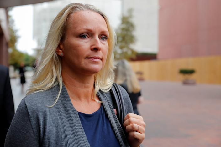 Margaret Hunter, wife of Rep. Duncan Hunter, R-Calif., leaves federal court in San Diego on Sept. 24, 2018. (Photo: Mike Blake/Reuters)