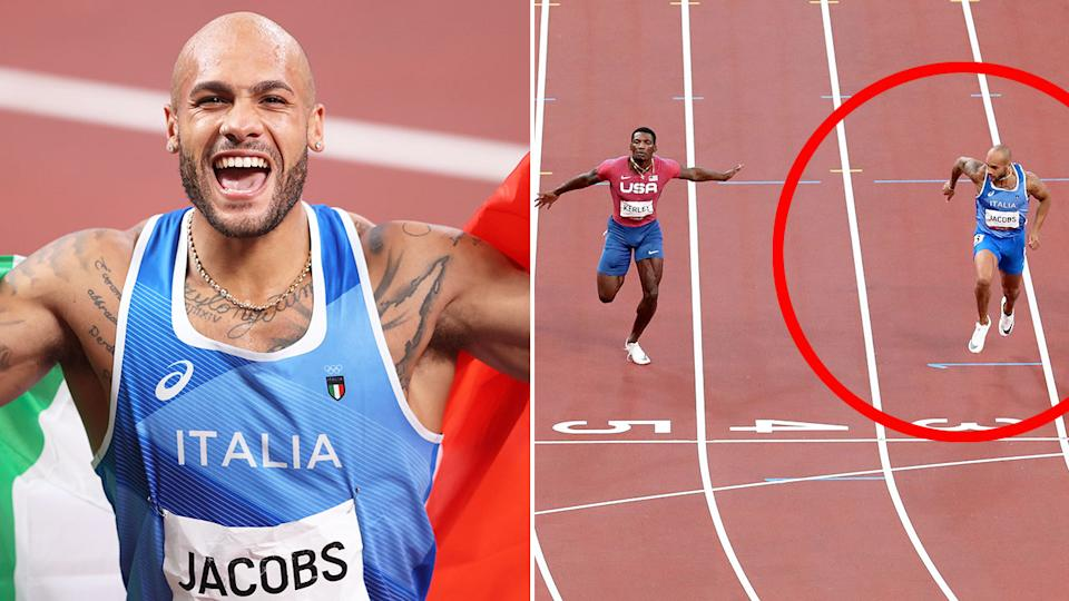 Seen here, Marcell Jacobs wins the men's 100m sprint at the Olympic Games.