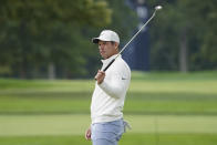Paul Casey, of England, reacts on the second green during the second round of the US Open Golf Championship, Friday, Sept. 18, 2020, in Mamaroneck, N.Y. (AP Photo/John Minchillo)