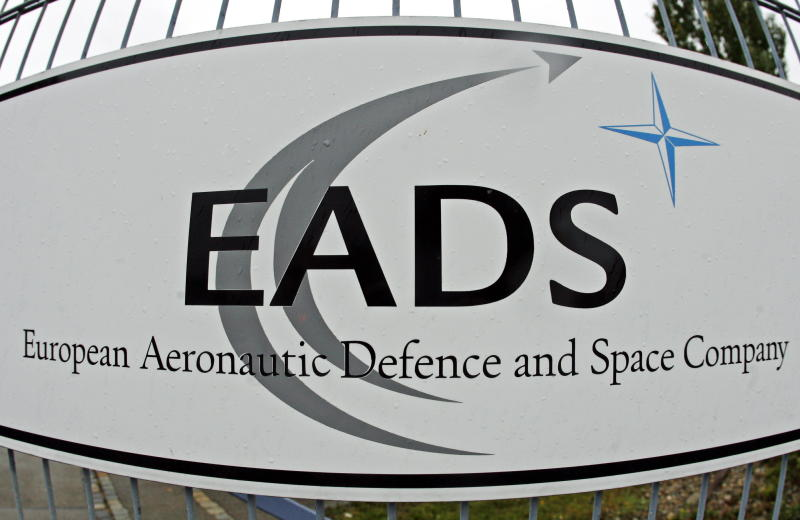 "FILE - This Sept. 25, 2007 file photo shows the EADS logo in Augsburg, Germany. British defense contractor BAE Systems PLC and its European counterpart EADS NV on Wednesday Oct 10, 2012 abandoned a proposed merger that would have created a global defense and aerospace giant. The companies said they ""decided to terminate their discussions"" over the proposed merger because of conflicting interests between the British, French and German governments. ""It has become clear that the interests of the parties' government stakeholders cannot be adequately reconciled with each other or with the objectives that BAE Systems and EADS established for the merger,"" the companies said in a statement. (AP Photo/dapd/ Clemens Bilan,File)"