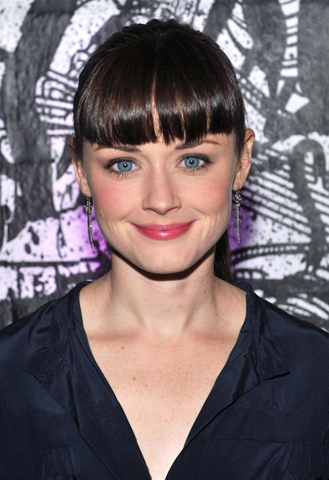 "Alexis Bledel debuted freshly cut bangs at a benefit in New York on October 9. While a chic fringe is always en vogue, it's a new look for the former ""Gilmore Girls"" actress, which helps draw attention to Bledel's bright blue eyes, making them pop even more than they already did. Henry S. Dziekan III/<a href=""http://www.gettyimages.com/"" target=""new"">GettyImages.com</a> - October 9, 2010"