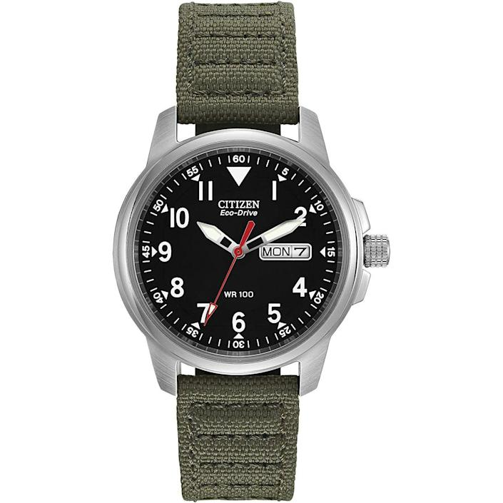 """<p><strong>Citizen</strong></p><p>amazon.com</p><p><strong>$131.25</strong></p><p><a href=""""https://www.amazon.com/dp/B000EQS1JW?tag=syn-yahoo-20&ascsubtag=%5Bartid%7C10054.g.35351418%5Bsrc%7Cyahoo-us"""" rel=""""nofollow noopener"""" target=""""_blank"""" data-ylk=""""slk:Shop Now"""" class=""""link rapid-noclick-resp"""">Shop Now</a></p><p>An ultra-dependable field watch with classic good looks to spare.</p>"""