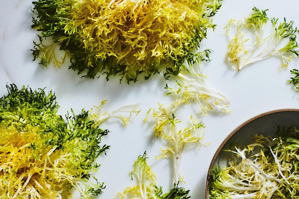 """<h1 class=""""title"""">A Guide to Cooking Chicories- Frisee</h1> <cite class=""""credit"""">Photo by Chelsea Kyle, Food Styling by Olivia Mack Anderson</cite>"""