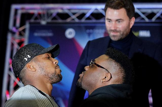 Jarrell Miller's fight with Britain's Anthony Joshua is off after the American boxer failed a drugs test (AFP Photo/Adrian DENNIS)