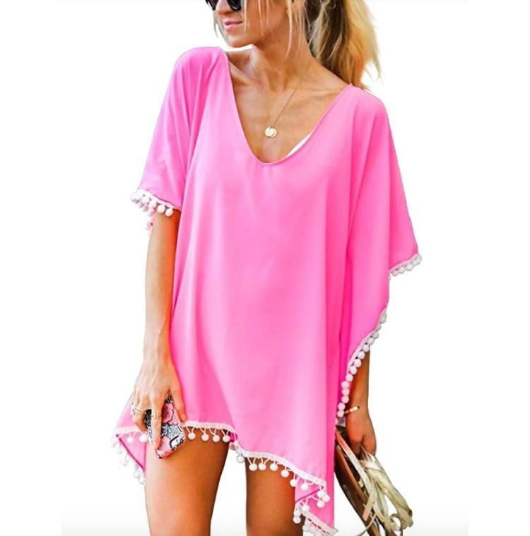 Adreamly Women's Pom Pom Trim Kaftan Chiffon Cover Up (Photo: Amazon)
