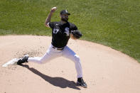 Chicago White Sox starting pitcher Lucas Giolito delivers during the first inning of a baseball game against the Tampa Bay Rays Wednesday, June 16, 2021, in Chicago. (AP Photo/Charles Rex Arbogast)