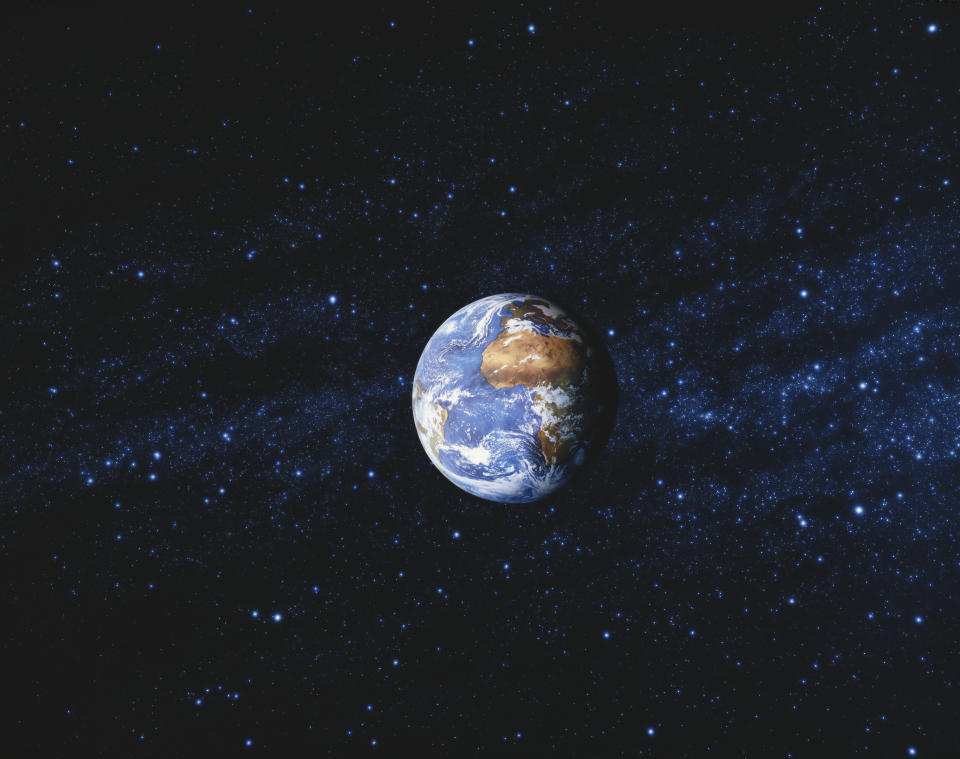 Earth pictured in space.