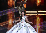 Lupita Infante and Mariachi Sol de Mexico de Jose Hernandez performs for the 21st Latin Grammy Awards, airing on Thursday, Nov. 19, 2020, at American Airlines Arena in Miami. Their performance celebrates Infante's grandfather, Pedro Infante, an icon in the Golden Era of Mexican Cinema. (AP Photo/Taimy Alvarez)