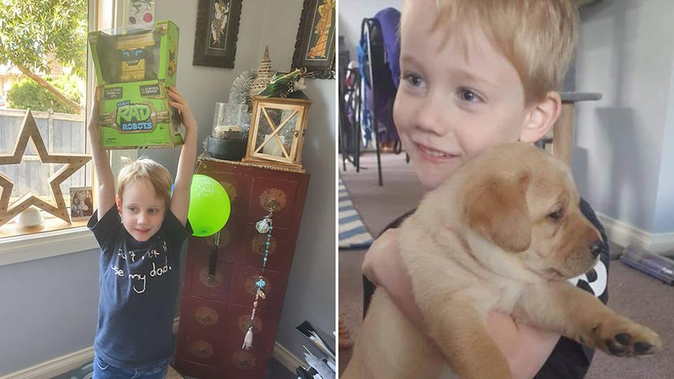 Sharon Zabielski's son Nash celebrated his sixth birthday a little differently this year due to the Covid pandemic. He is pictured with a new toy and a puppy.