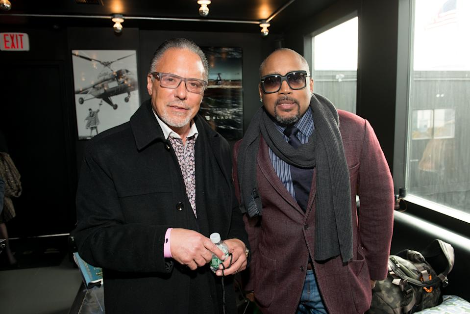 TARRYTOWN, NY - APRIL 20:  Jay Abraham (L) and CEO and Founder of FUBU Daymond John arrive at Blade Lounge West for the Kairos Society global summit on April 20, 2017 in New York City.  (Photo by Noam Galai/Getty Images for Kairos Society)