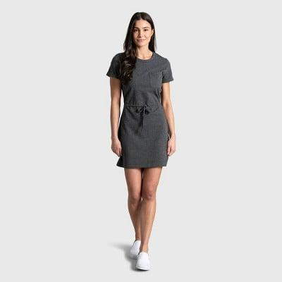 <p>We love this heathered <span>United By Blue Organic T-Shirt Dress</span> ($50). The shape is classic, but we like the tie at the waist.</p>