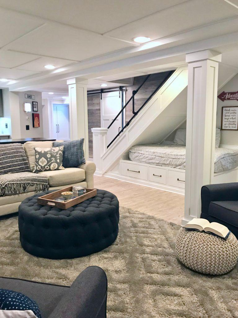 """<p>If you love the ever-popular farmhouse look but want to make it your own, consider adding a few industrial touches. We love how this space incorporates industrial pipe throughout the basement, including in the staircase railing and in a 10-foot counter bar behind the sofa. </p><p><strong>See more at <a href=""""https://www.memehill.com/cozy-up-with-this-charming-farmhouse-inspired-basement-remodel/"""" rel=""""nofollow noopener"""" target=""""_blank"""" data-ylk=""""slk:Meme Hill"""" class=""""link rapid-noclick-resp"""">Meme Hill</a>. </strong></p><p><a class=""""link rapid-noclick-resp"""" href=""""https://go.redirectingat.com?id=74968X1596630&url=https%3A%2F%2Fwww.walmart.com%2Fip%2FStoneway-Retro-Industrial-Metal-Wood-Wall-Shelf-Display-Floating-Storage-Pipe-Cast-Iron-with-Shelf-Bracket-For-Home-Art-Decor-16-24-31-inch%2F204550732&sref=https%3A%2F%2Fwww.redbookmag.com%2Fhome%2Fg36061437%2Fbasement-ideas%2F"""" rel=""""nofollow noopener"""" target=""""_blank"""" data-ylk=""""slk:SHOP INDUSTRIAL PIPE SHELVES"""">SHOP INDUSTRIAL PIPE SHELVES</a></p>"""